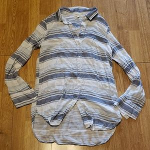Cloth & Stone blue/white stroped lined button down